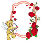 Color frame with roses and teddy bear with bow and wings, looks. Like a Cupid. Copy space. Raster clip art Royalty Free Stock Photo
