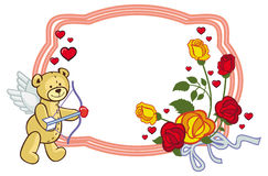 Color frame with roses and teddy bear with bow and wings, looks. Like a Cupid. Copy space. Raster clip art Stock Photography