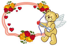 Color frame with roses and teddy bear with bow and wings, looks. Like a Cupid. Copy space. Raster clip art Royalty Free Stock Image