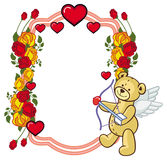 Color frame with roses and teddy bear with bow and wings, looks. Like a Cupid. Copy space. Raster clip art Royalty Free Stock Photos