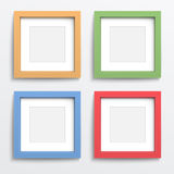 Color frame set on gray wall. Color square frame set on gray wall with realistic shadows. Vector illustration. EPS10 Stock Image