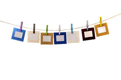 Color Frames Hanging With Name Day Cloths Pin Stock Photography