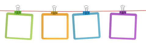 Color frames on the rope. With clothespins Stock Photo
