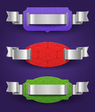 Color frames with silver ribbons Stock Images