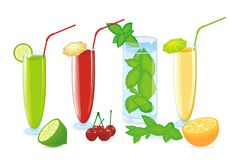 Color fruit cocktail Royalty Free Stock Photography