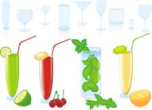 Color fruit cocktail and glasses Stock Photography
