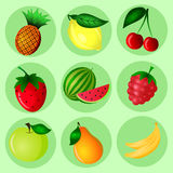 Color fruit set. Hand Drawn color fruit set. Set of various colorful hand draw fruits. Doodle fruits. Fruits flat icons set Royalty Free Stock Photo