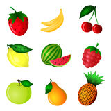 Color fruit set. Hand Drawn color fruit set. Set of various colorful hand draw fruits on white background. It can be used to create icons. Design of labels Stock Photography