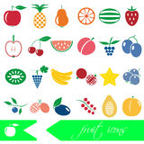 Color fruit theme simple icons set Royalty Free Stock Images