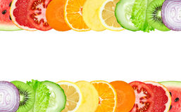 Color fruit and vegetable slices Stock Photos
