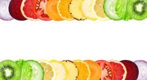 Color fruit and vegetable slices Royalty Free Stock Photo