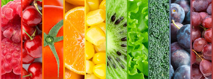 Color fruits, berries and vegetables background Stock Image