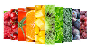 Color fruits, berries and vegetables Stock Photography