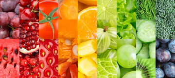 Color fruits, berries and vegetables Stock Images