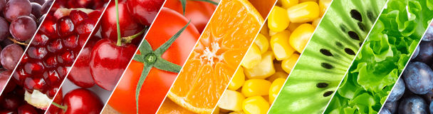 Color fruits, berries and vegetables Stock Photo