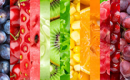 Color fruits, berries and vegetables Royalty Free Stock Photo