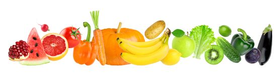 Color fruits and vegetables Royalty Free Stock Images