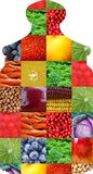 Color fruits and vegetables. Fresh food. Concept. Collage Stock Image