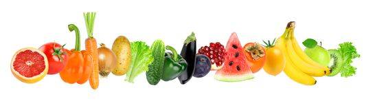Color fruits and vegetables on white background stock images