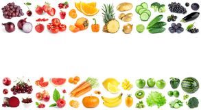 Color fruits and vegetables on white royalty free stock photography