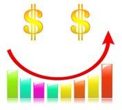 Color ful Business Graph on smile. Achievement analysing arrow aspirations bar blue vector illustration