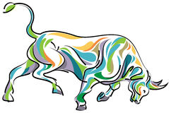 Color full bull. Line art drawing image Royalty Free Stock Photography