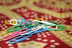 Color full paper clips royalty free stock images