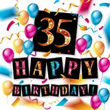 Color 35 th birthday celebration. Color full pink 35 th birthday celebration greeting card design, birthday party poster background with balloon, ribbon and gift Royalty Free Stock Photo