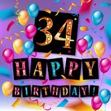 Color full 34 th birthday celebration. Greeting card design, birthday party poster background with balloon, ribbon and confetti. thirty four anniversary Royalty Free Stock Image
