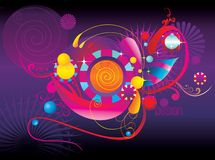 Color fun abstract shapes. R illustration over a purple background vector illustration