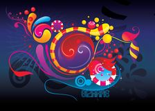 Color fun abstract shapes. Illustration over a blue background Stock Photos
