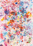 Color Fun Background. A real mess! In a good way. A loose funny background with splashes, dots and textures, painted with acrylics on textured paper Stock Images