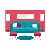Color furniture living room flat icon Stock Photography