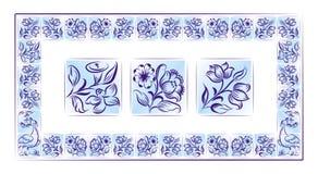 color gammala portugisiska tegelplattor för ramen stock illustrationer