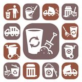 Color garbage icons Royalty Free Stock Photos