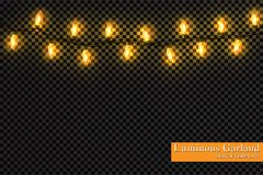 Color garland, festive decorations. Glowing christmas lights isolated on transparent background.  Royalty Free Stock Photos
