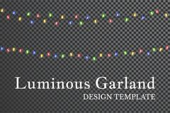 Color garland, festive decorations. Glowing christmas lights isolated on transparent background.  Royalty Free Stock Photo