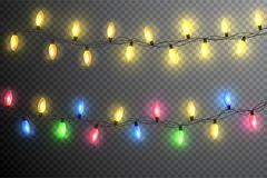 Color garland, festive decorations. Glowing christmas lights isolated on transparent background.  Stock Images
