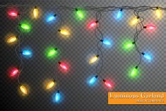 Color garland, festive decorations. Glowing christmas lights isolated on transparent background.  Stock Photography