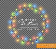 Color garland, festive decorations. Glowing christmas lights isolated on transparent background vector illustration