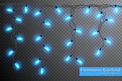 Color garland, festive decorations. Glowing christmas lights isolated on transparent background.  Royalty Free Stock Image