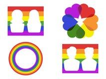 Color gay symbol icons. Color gay symbol icons on white background Royalty Free Stock Photo