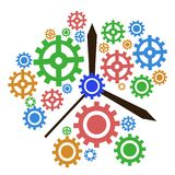 Color gear clock background. Isolated color gear clock background from white background Royalty Free Stock Photos