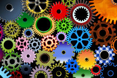Color gears. Lot of color mechanic gears and wheels 3d Stock Image