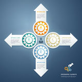 Color Gears Infographics Options Banner. Stock Photography