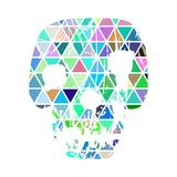 Color geometric skull on white background. Royalty Free Stock Photos