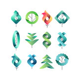 Color geometrical leaves, trees. Set of  symbols, logos, vector design eco and botanical elements Royalty Free Stock Photography
