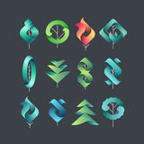 Color geometrical leaves, trees. Set of  symbols, logos, vector design eco and botanical elements for dark backgrounds Stock Photo