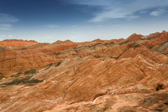 Color Geopark. Danxia geological park is located in zhangye in gansu province in China, when in the morning or in the evening when the sun on the rock, bright Stock Images