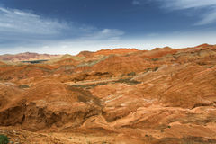 Color Geopark. Danxia geological park is located in zhangye in gansu province in China, when in the morning or in the evening when the sun on the rock, bright Royalty Free Stock Images